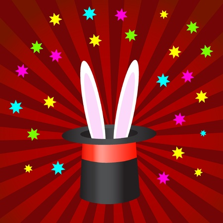 Magic hat with bunny ears. Vector illustration EPS8
