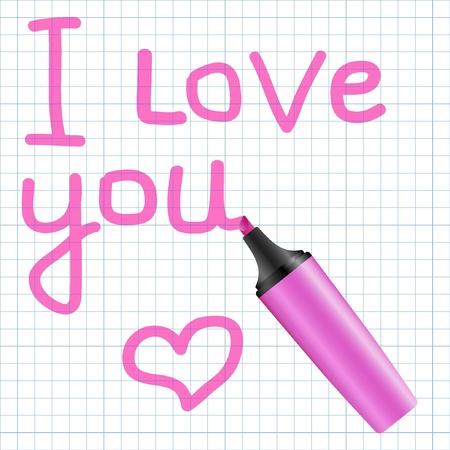 Ti amo testo scritto utilizzando marker rosa. Illustrazione vettoriale.
