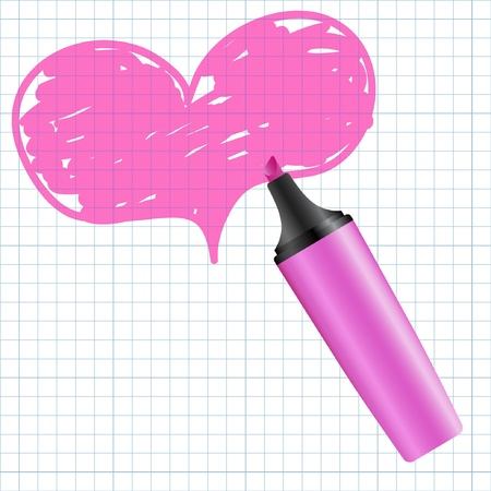 pencil writing: Heart drawn using a marker. Vector illustration.