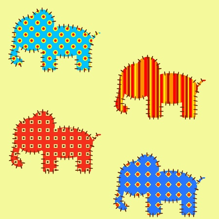Seamless vector pattern with elephants. EPS8  Vector