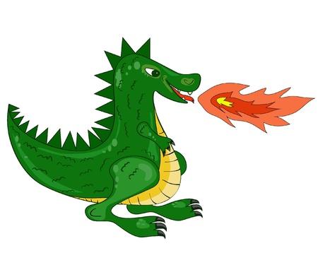 cartoon magical green fire-spitting dragon. Vector illustration EPS8  Vector
