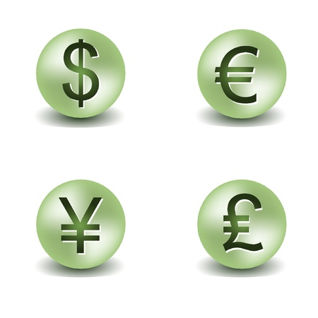 Vector dollar, euro, yen and pound buttons. EPS8 Vector