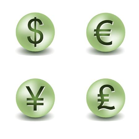 Vector dollar, euro, yen and pound buttons. EPS8 Vector