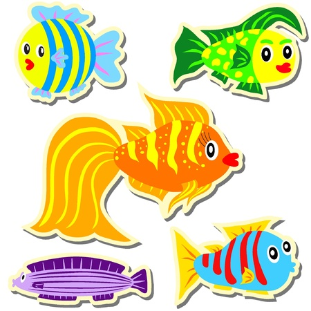Cartoon vector stickers fish set EPS8  Vector