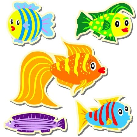 Cartoon vector stickers fish set EPS8 Stock Vector - 11053143