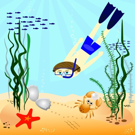 Pearl diver. Vector illustration EPS8  Vector