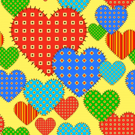 Seamless vector pattern with checkered hearts Vector