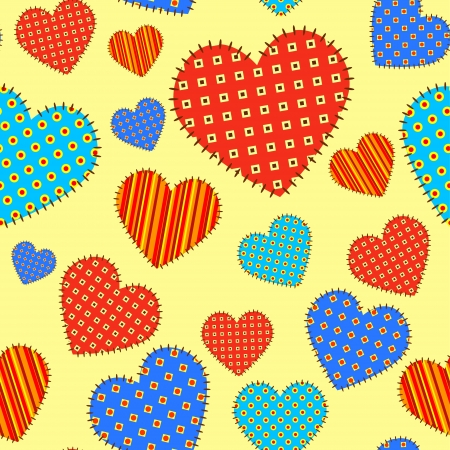 Seamless vector pattern with checkered hearts  Stock Vector - 14836979