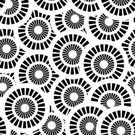 Naadloze patroon met witte en zwarte cirkels