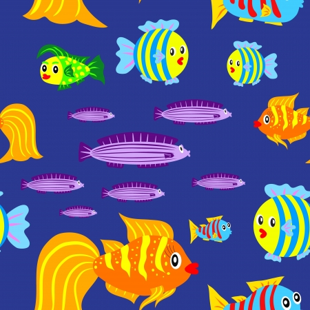 Seamless vector pattern with cute fishes Vector