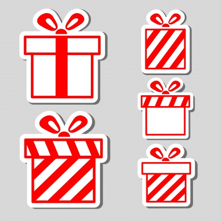 christmas gifts: Gift boxes stickers set  Illustration