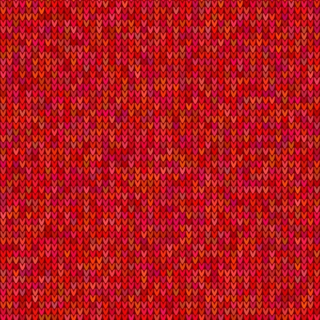 Red knitted sweater seamless pattern Vector