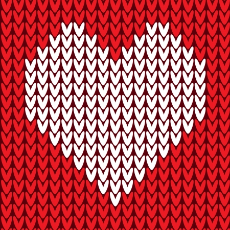 Red knitted sweater seamless pattern with heart