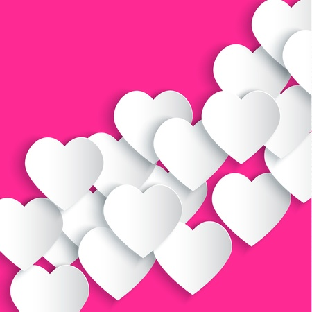 Paper hearts background illustration Vector