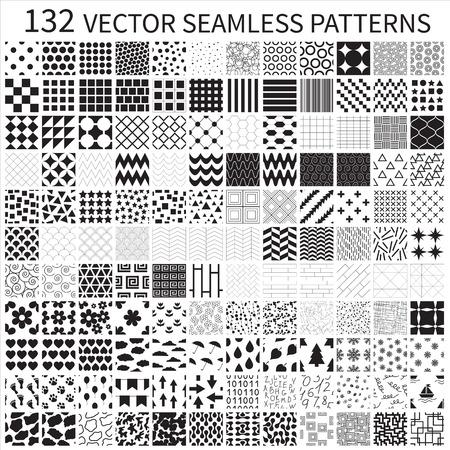 Set of vector geometric, polka dot, floral, decorative patterns  Illustration