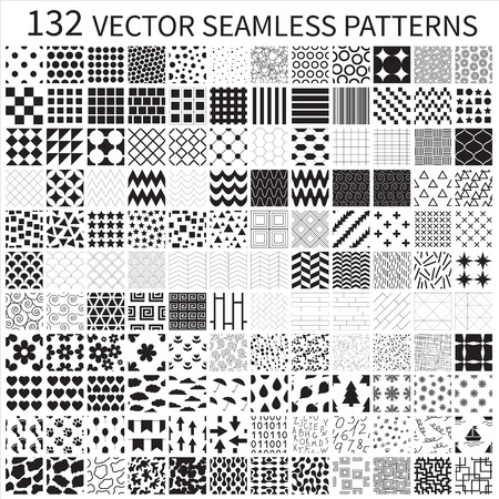 Set of vector geometric, polka dot, floral, decorative patterns  Stock Illustratie