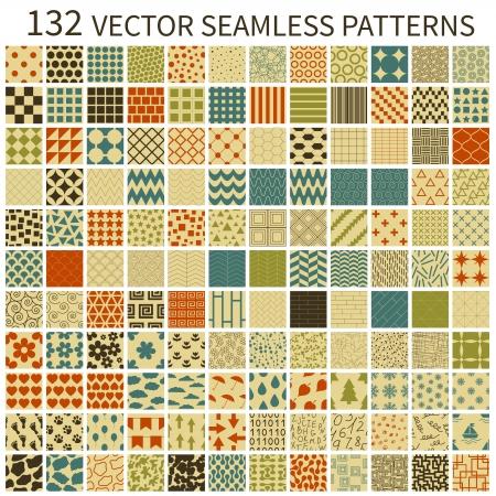 Set of retro vector geometric, polka dot, floral, decorative patterns