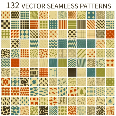 Set of retro vector geometric, polka dot, floral, decorative patterns