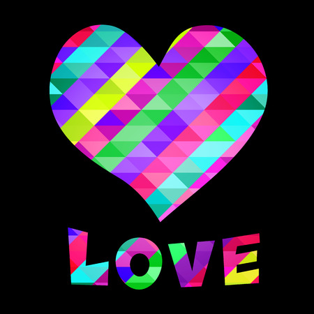 illustrazione con il cuore e amore testo