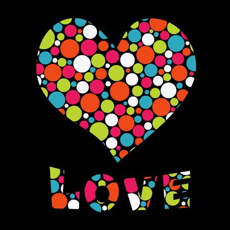 Illustrazione vettoriale con il cuore e amore testo Happy Valentine