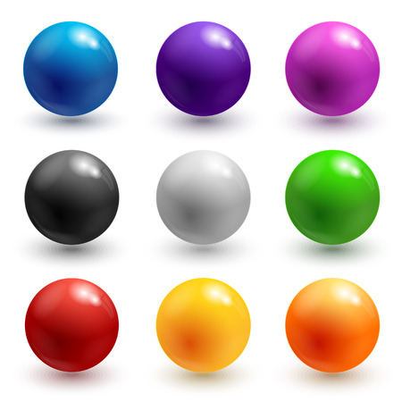 Collectie van kleurrijke glanzende bollen geïsoleerd op wit.  Stock Illustratie