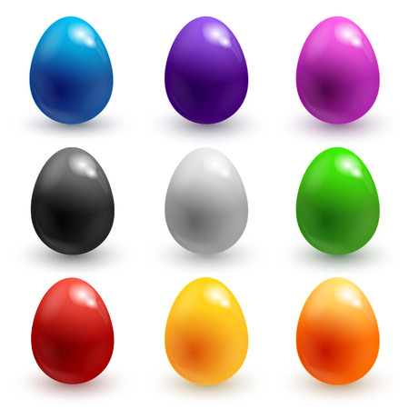 Collection of colorful glossy Easter eggs isolated on white.  Vector