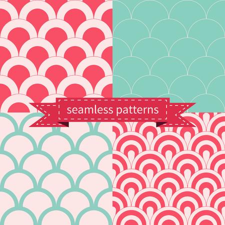 shabby chic background: Set of seamless geometric patterns Illustration