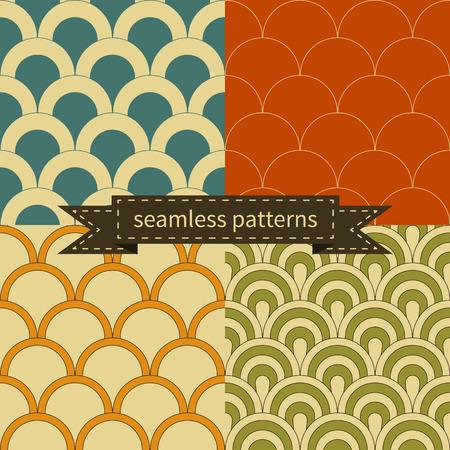 Set of beautiful retro seamless patterns Illustration