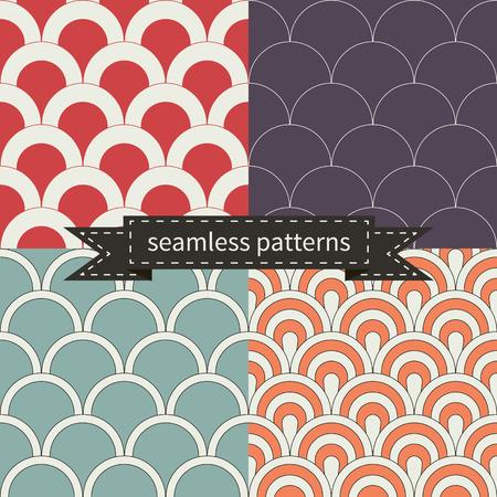 Set of beautiful retro seamless patterns. vector illustration