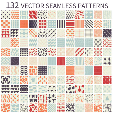 Set of seamless retro vector geometric, polka dot, decorative patterns. Vettoriali
