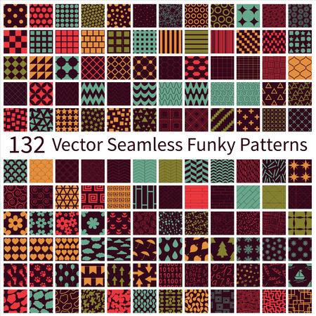Set of seamless funky vector geometric, floral, decorative patterns