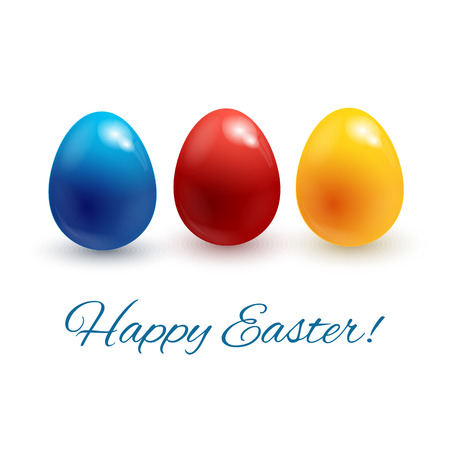 Happy Easter greeting card with Easter eggs. V  Vector