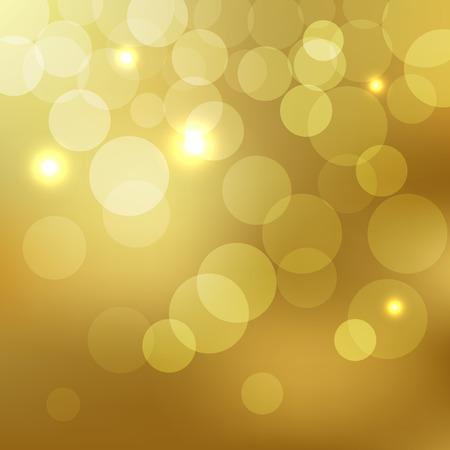 Abstract Golden Background bokeh effect with defocused lights Ilustração
