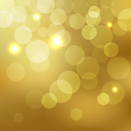 Abstract Golden Background bokeh effect with defocused lights Vectores