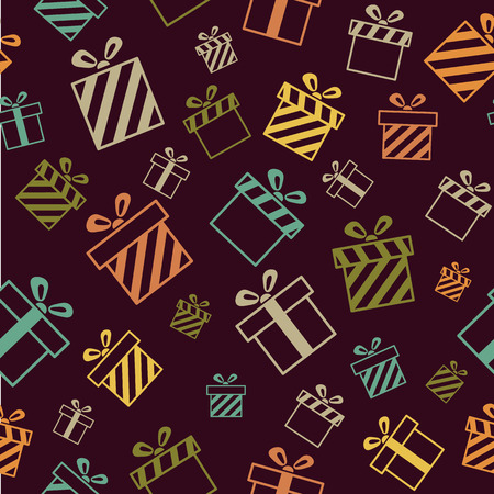 giftbox: Seamless vector pattern with gift boxes