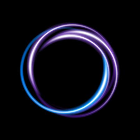 Sfondo blu e viola neon cerchio.