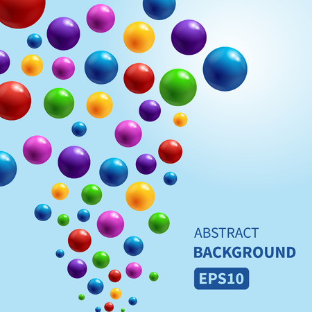 colorful: Vector background with colorful glossy bubbles flowing up. Vector illustration for your design. Illustration