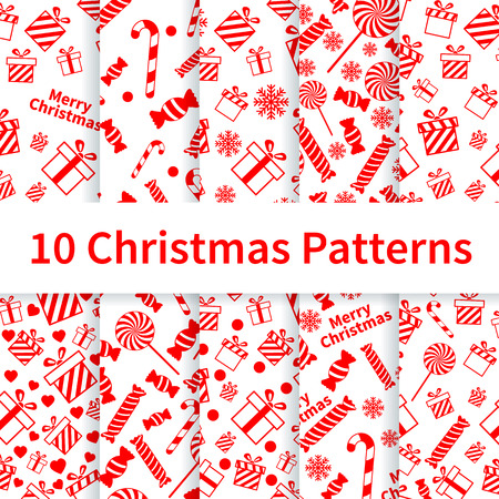 Set of Christmas seamless patterns with gift boxes, candies, snowflakes Vector