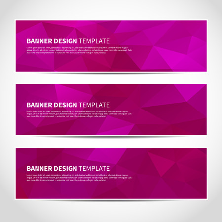 banner effect: Set of trendy purple vector banners template or website headers with abstract geometric background