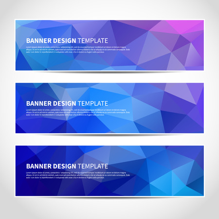 Set of trendy blue vector banners template or website headers with abstract geometric background Ilustração