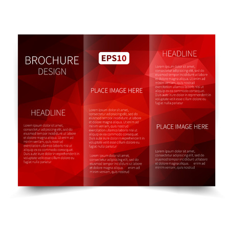 brochure cover: Vector red tri-fold brochure design template with abstract geometric background EPS10 Tri-Fold Mock up and back Brochure Design Illustration