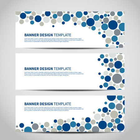 Set of dotted vector banners template or website headers with abstract geometric background.