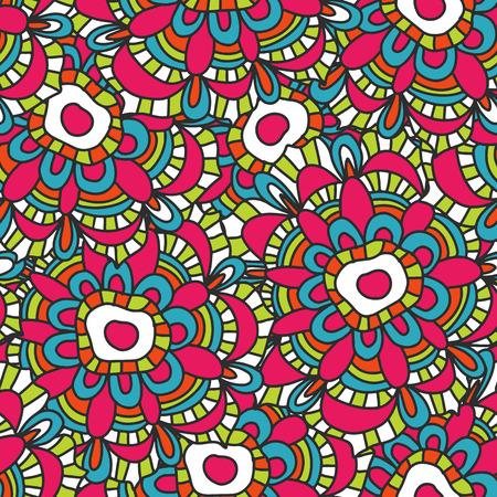 Ornamentale Seamless pattern con fiori, illustrazione vettoriale floreali in stile vintage EPS8
