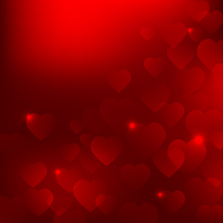 Abstract vector red Valentines Day background with hearts EPS10 Illustration