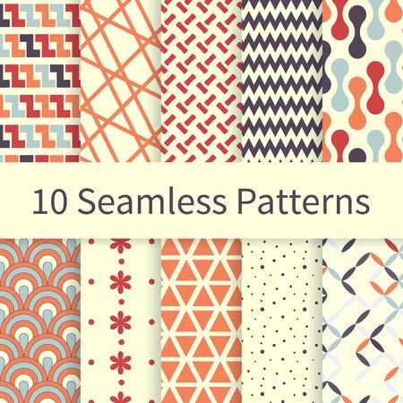 10 geometrische mode verschillende vector naadloze patronen, tegels. Eindeloze textuur kan worden gebruikt voor behang, opvulpatronen, webpagina-achtergrond, texturen