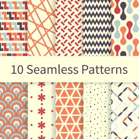 10 Geometric Fashion different vector seamless patterns, tiling. Endless texture can be used for wallpaper, pattern fills, web page background, textures