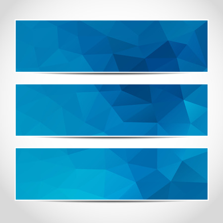 Set van trendy blauwe vector banners sjabloon of website headers met abstracte geometrische achtergrond. Vector ontwerp illustratie EPS10 Stock Illustratie