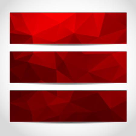 Set of trendy red vector banners template or website headers with abstract geometric background. Vector design illustration EPS10 Vettoriali