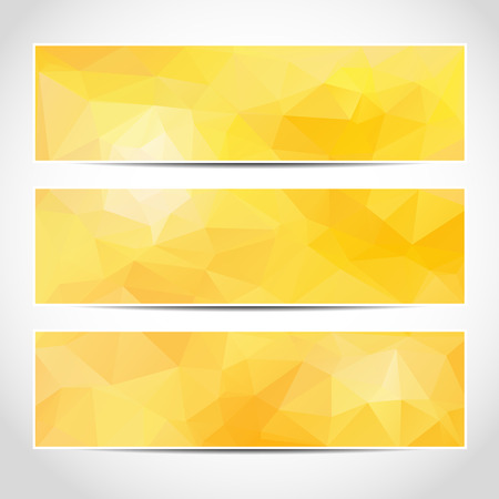 Set of trendy yellow sunny vector banners template or website headers with abstract geometric background. Vector design illustration EPS10