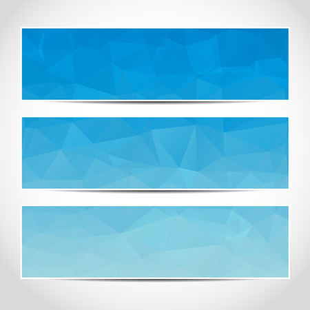 website header: Set of trendy blue vector banners template or website headers with abstract geometric background. Vector design illustration EPS10